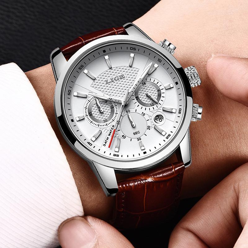 LIGE メンズウォッチトップブランドの高級レザーカジュアルクォーツ腕時計メンズミリタリースポーツ防水時計黒腕時計レロジオ Masculino_画像5