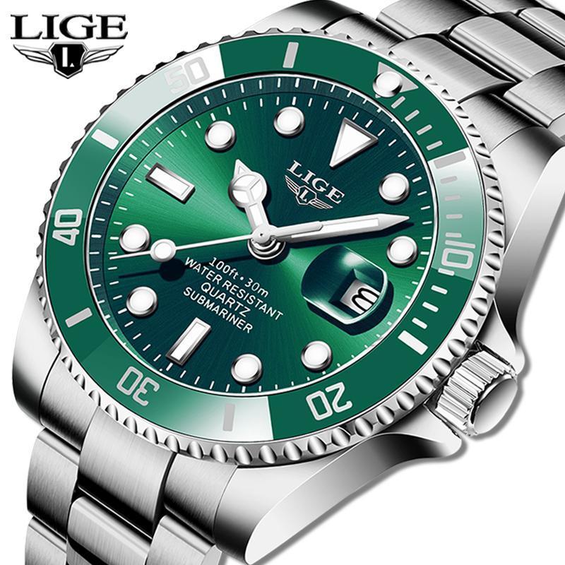 Ligeトップブランドの高級ファッションダイバー腕時計メンズ30ATM防水日付時計スポーツ腕時計メンズクォーツ腕時計レロジオmasculino_画像1