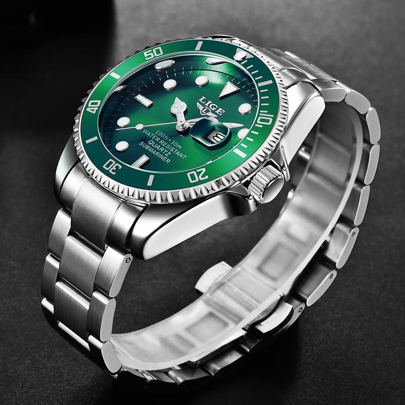 Ligeトップブランドの高級ファッションダイバー腕時計メンズ30ATM防水日付時計スポーツ腕時計メンズクォーツ腕時計レロジオmasculino_画像2
