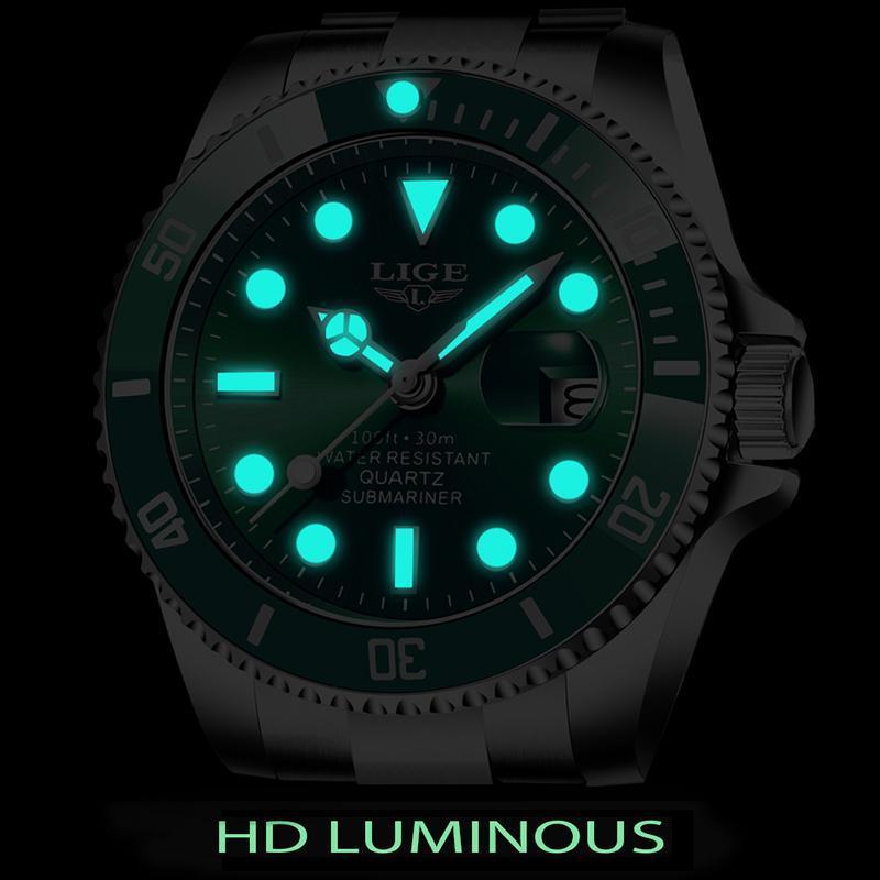 Ligeトップブランドの高級ファッションダイバー腕時計メンズ30ATM防水日付時計スポーツ腕時計メンズクォーツ腕時計レロジオmasculino_画像3