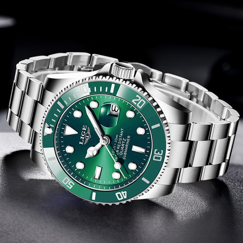 Ligeトップブランドの高級ファッションダイバー腕時計メンズ30ATM防水日付時計スポーツ腕時計メンズクォーツ腕時計レロジオmasculino_画像4