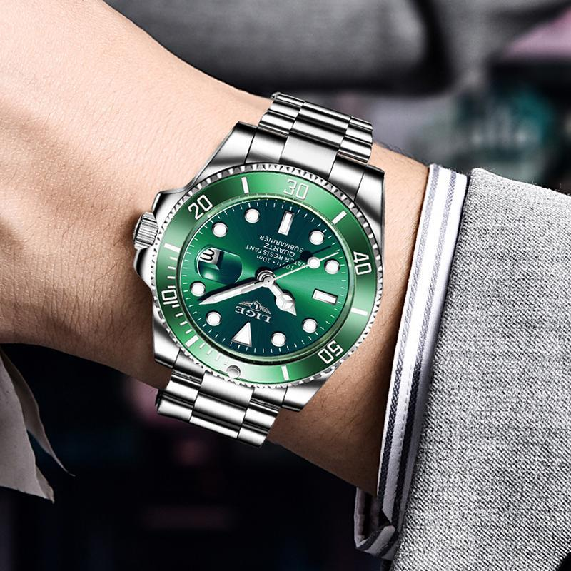 Ligeトップブランドの高級ファッションダイバー腕時計メンズ30ATM防水日付時計スポーツ腕時計メンズクォーツ腕時計レロジオmasculino_画像5