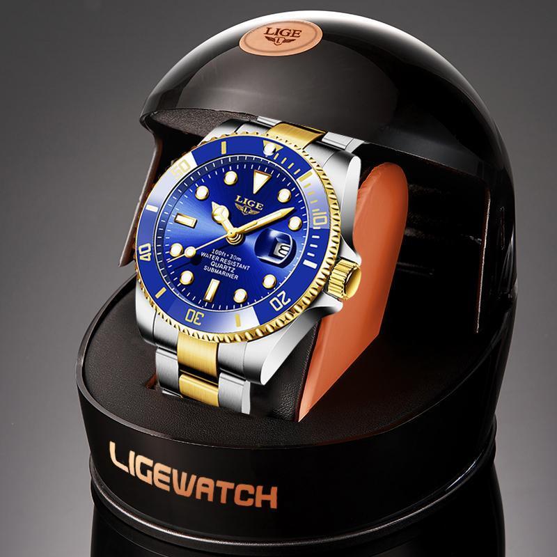 Ligeトップブランドの高級ファッションダイバー腕時計メンズ防水日付時計ゴールドブルー腕時計メンズクォーツ腕時計レロジオmasculino_画像1