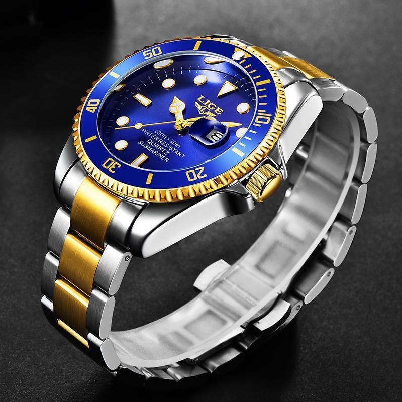 Ligeトップブランドの高級ファッションダイバー腕時計メンズ防水日付時計ゴールドブルー腕時計メンズクォーツ腕時計レロジオmasculino_画像2