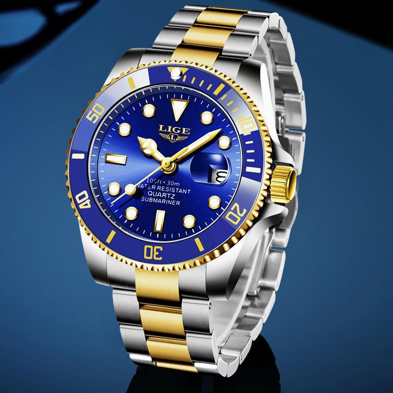 Ligeトップブランドの高級ファッションダイバー腕時計メンズ防水日付時計ゴールドブルー腕時計メンズクォーツ腕時計レロジオmasculino_画像3