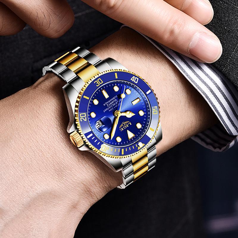 Ligeトップブランドの高級ファッションダイバー腕時計メンズ防水日付時計ゴールドブルー腕時計メンズクォーツ腕時計レロジオmasculino_画像5