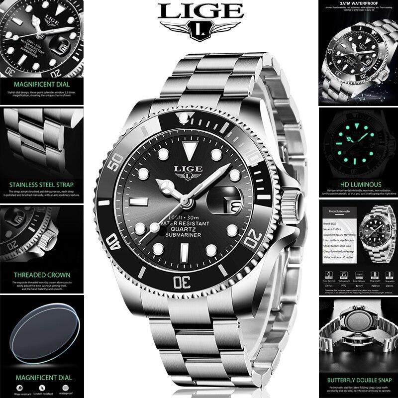 Ligeトップブランドの高級ファッション新メンズ腕時計30ATM防水日付時計男性スポーツ腕時計メンズクォーツ腕時計レロジオmasculino_画像1
