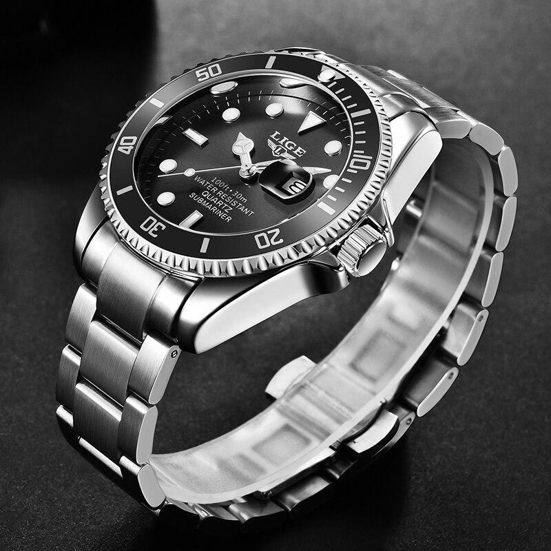 Ligeトップブランドの高級ファッション新メンズ腕時計30ATM防水日付時計男性スポーツ腕時計メンズクォーツ腕時計レロジオmasculino_画像2