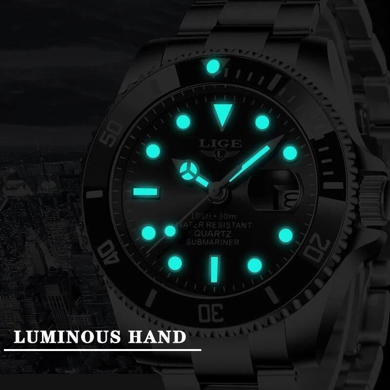 Ligeトップブランドの高級ファッション新メンズ腕時計30ATM防水日付時計男性スポーツ腕時計メンズクォーツ腕時計レロジオmasculino_画像4