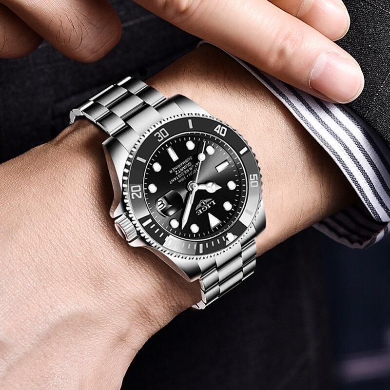 Ligeトップブランドの高級ファッション新メンズ腕時計30ATM防水日付時計男性スポーツ腕時計メンズクォーツ腕時計レロジオmasculino_画像5