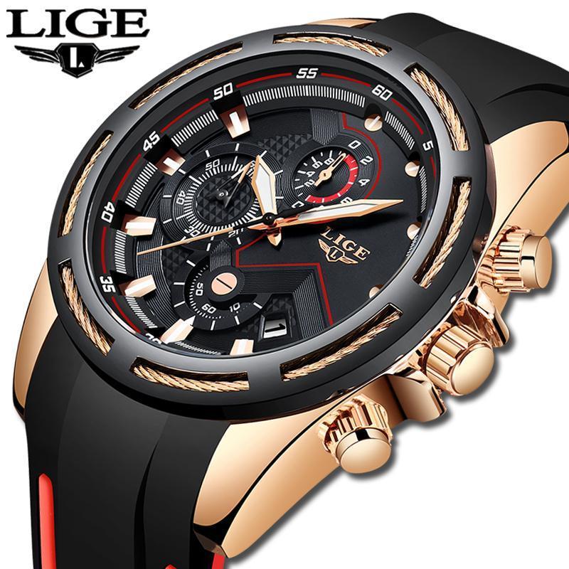 Ligeファッションメンズ腕時計トップブランドの高級シリコンスポーツ腕時計メンズクォーツ日付時計防水腕時計レロジオmasculino_画像1