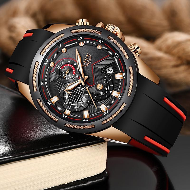 Ligeファッションメンズ腕時計トップブランドの高級シリコンスポーツ腕時計メンズクォーツ日付時計防水腕時計レロジオmasculino_画像2