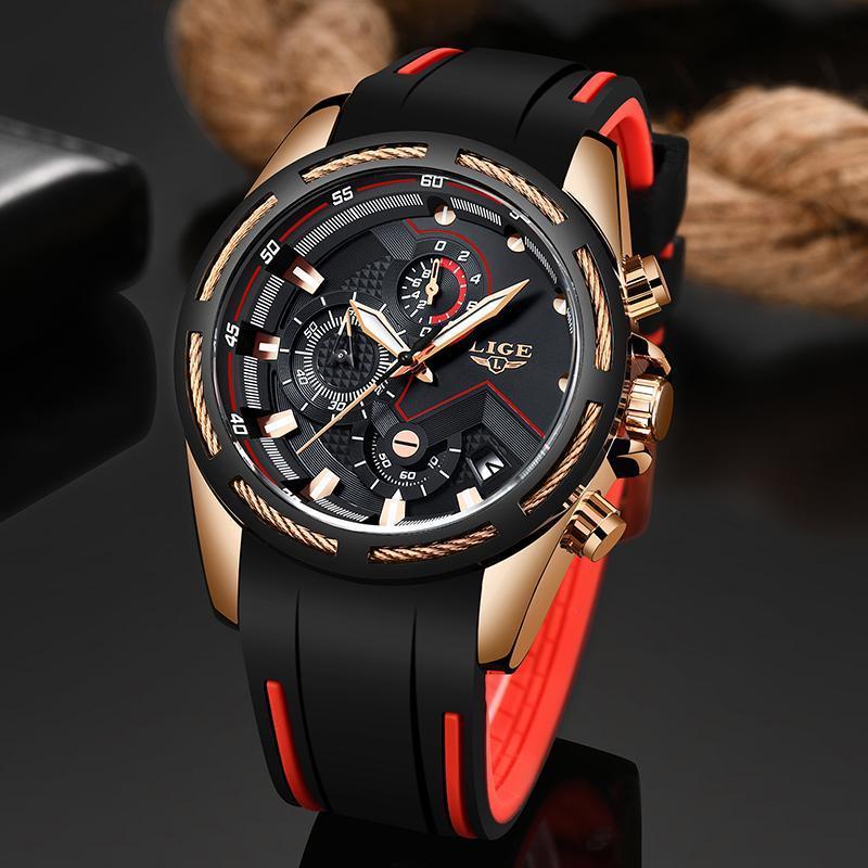 Ligeファッションメンズ腕時計トップブランドの高級シリコンスポーツ腕時計メンズクォーツ日付時計防水腕時計レロジオmasculino_画像3