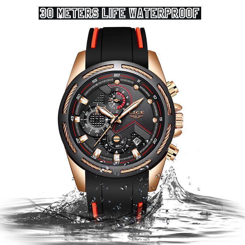 Ligeファッションメンズ腕時計トップブランドの高級シリコンスポーツ腕時計メンズクォーツ日付時計防水腕時計レロジオmasculino_画像4