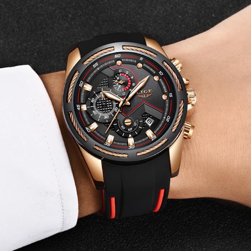 Ligeファッションメンズ腕時計トップブランドの高級シリコンスポーツ腕時計メンズクォーツ日付時計防水腕時計レロジオmasculino_画像5