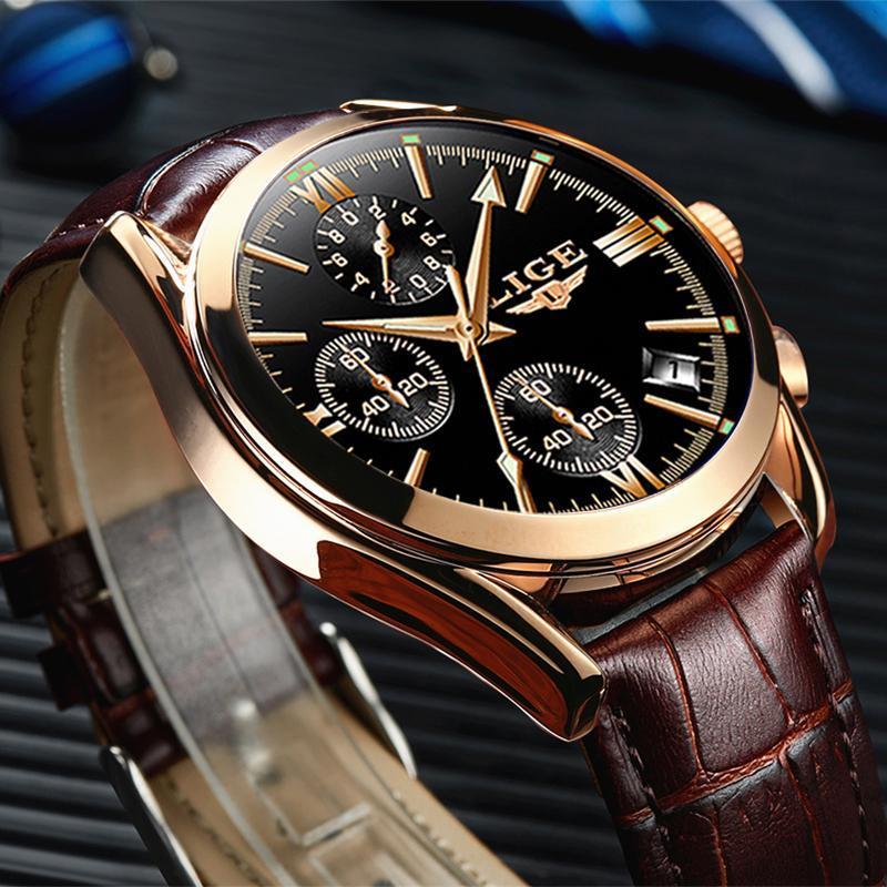 Ligeファッションメンズ腕時計トップブランドの高級軍クォーツ時計革防水スポーツクロノグラフ腕時計レロジオmasculino_画像1