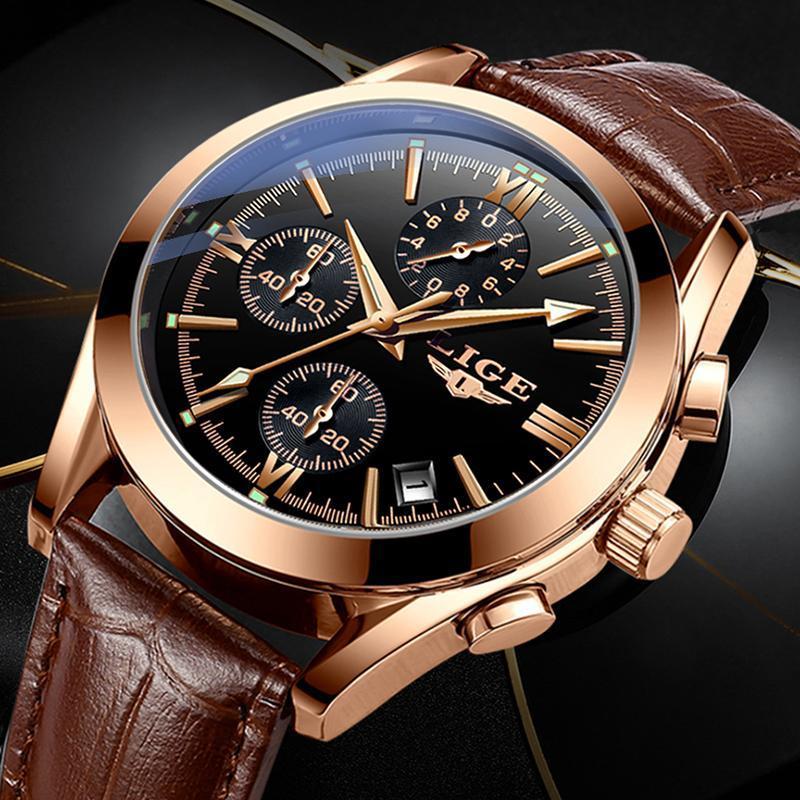 Ligeファッションメンズ腕時計トップブランドの高級軍クォーツ時計革防水スポーツクロノグラフ腕時計レロジオmasculino_画像2