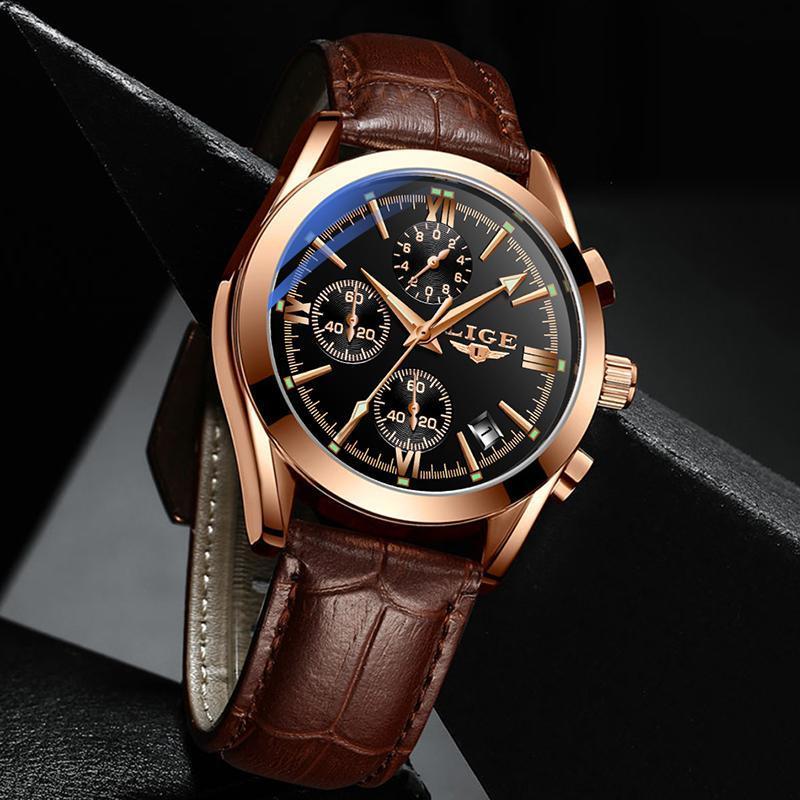 Ligeファッションメンズ腕時計トップブランドの高級軍クォーツ時計革防水スポーツクロノグラフ腕時計レロジオmasculino_画像3