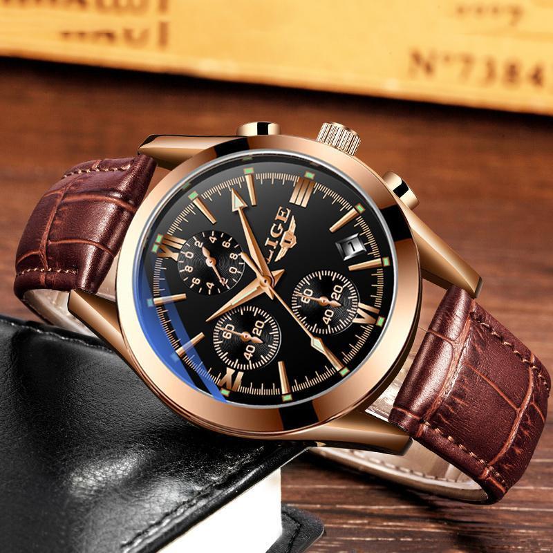 Ligeファッションメンズ腕時計トップブランドの高級軍クォーツ時計革防水スポーツクロノグラフ腕時計レロジオmasculino_画像4