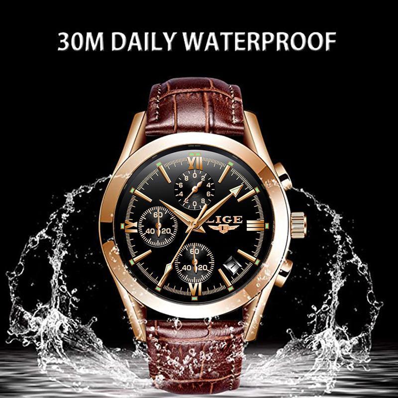 Ligeファッションメンズ腕時計トップブランドの高級軍クォーツ時計革防水スポーツクロノグラフ腕時計レロジオmasculino_画像5