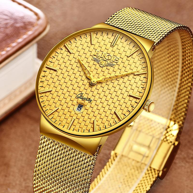 Ligeファッションメンズ腕時計トップブランドの高級超薄型クォーツ時計男性鋼メッシュストラップ防水金時計レロジオmasculino_画像1