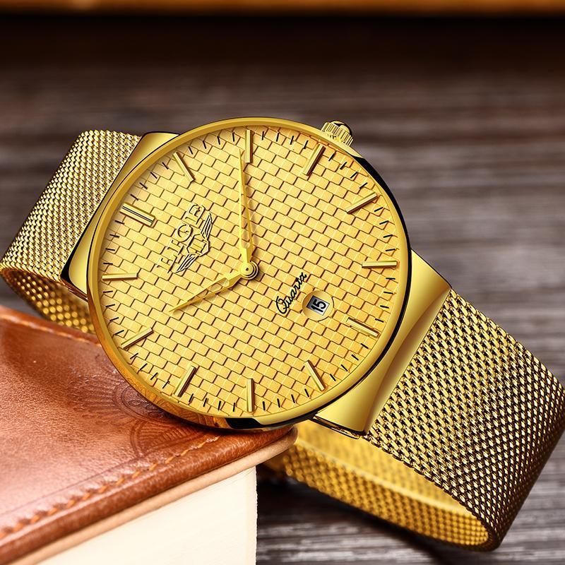 Ligeファッションメンズ腕時計トップブランドの高級超薄型クォーツ時計男性鋼メッシュストラップ防水金時計レロジオmasculino_画像2