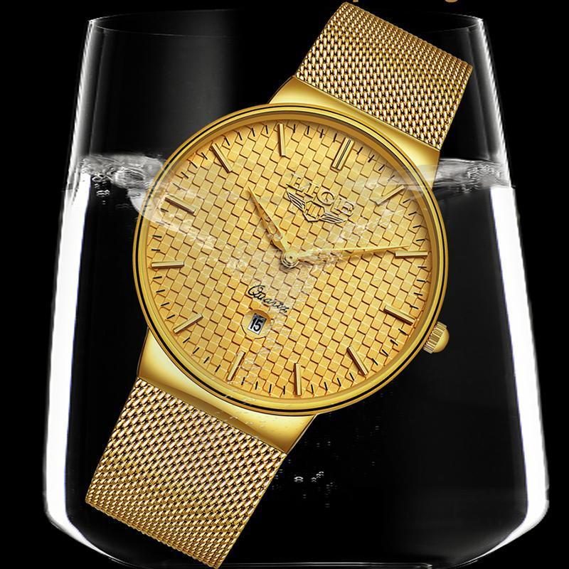Ligeファッションメンズ腕時計トップブランドの高級超薄型クォーツ時計男性鋼メッシュストラップ防水金時計レロジオmasculino_画像4
