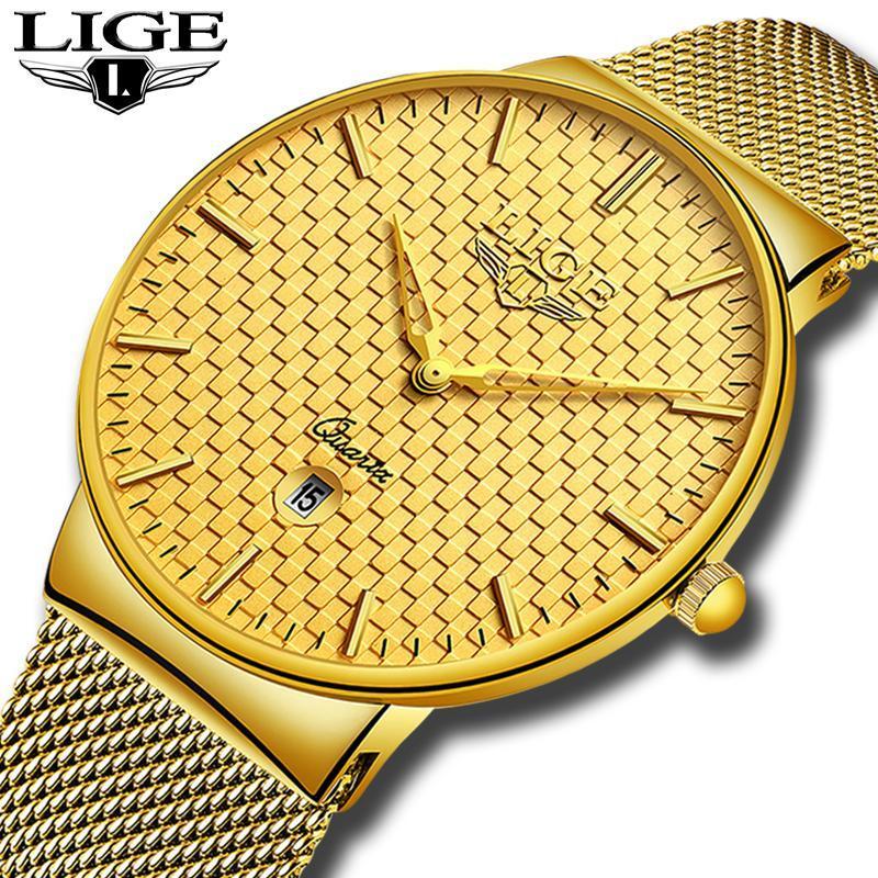 Ligeファッションメンズ腕時計トップブランドの高級超薄型クォーツ時計男性鋼メッシュストラップ防水金時計レロジオmasculino_画像5