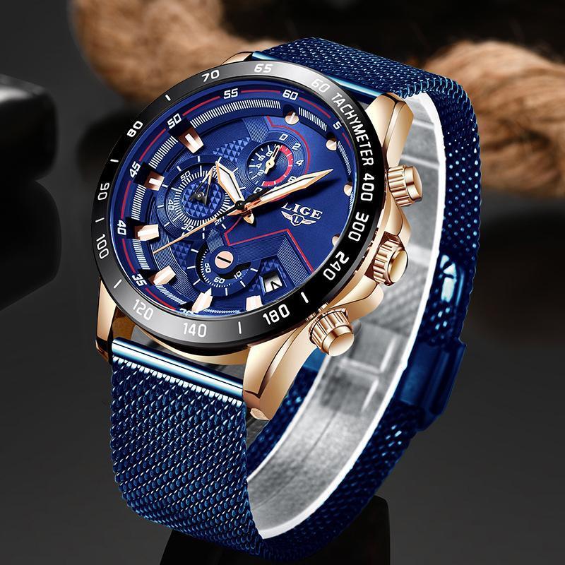 Ligeファッションメンズ腕時計トップブランドの高級腕時計クォーツ時計ブルー腕時計メンズ防水スポーツクロノグラフレロジオmasculino_画像1