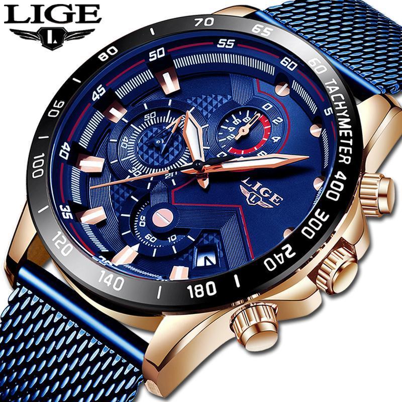 Ligeファッションメンズ腕時計トップブランドの高級腕時計クォーツ時計ブルー腕時計メンズ防水スポーツクロノグラフレロジオmasculino_画像2