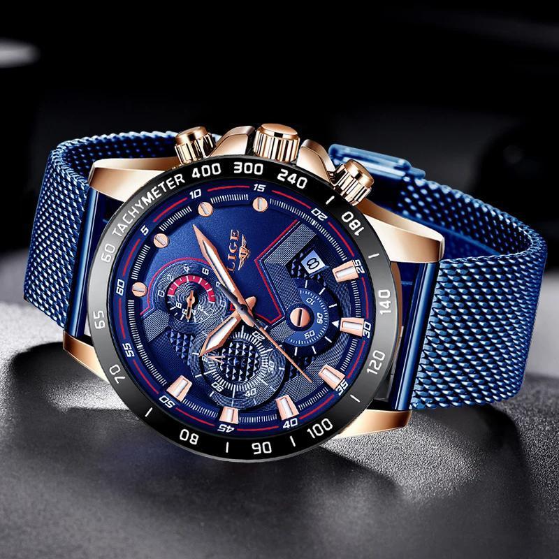 Ligeファッションメンズ腕時計トップブランドの高級腕時計クォーツ時計ブルー腕時計メンズ防水スポーツクロノグラフレロジオmasculino_画像3
