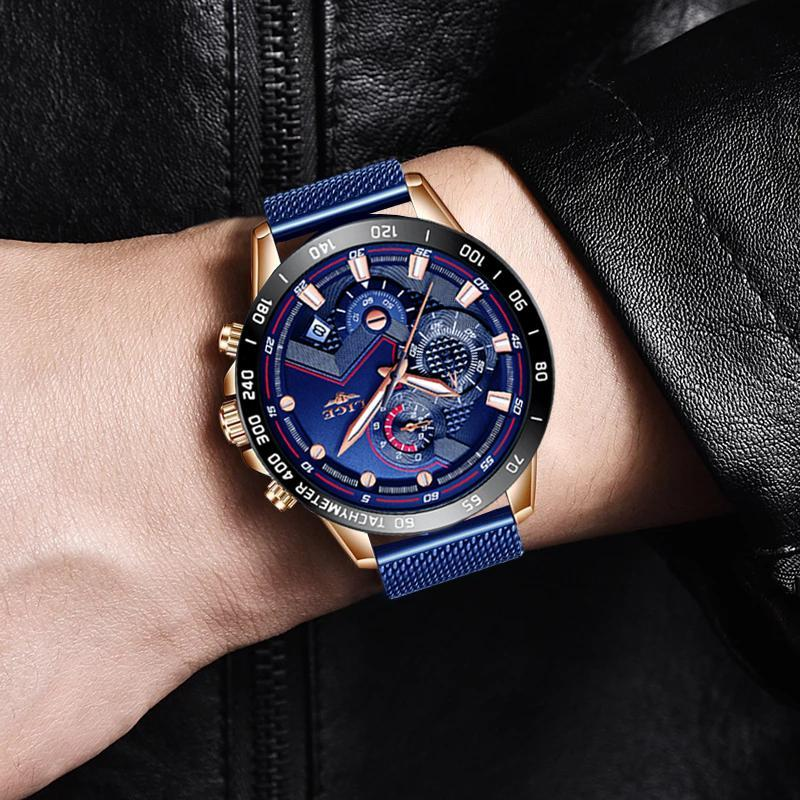 Ligeファッションメンズ腕時計トップブランドの高級腕時計クォーツ時計ブルー腕時計メンズ防水スポーツクロノグラフレロジオmasculino_画像5