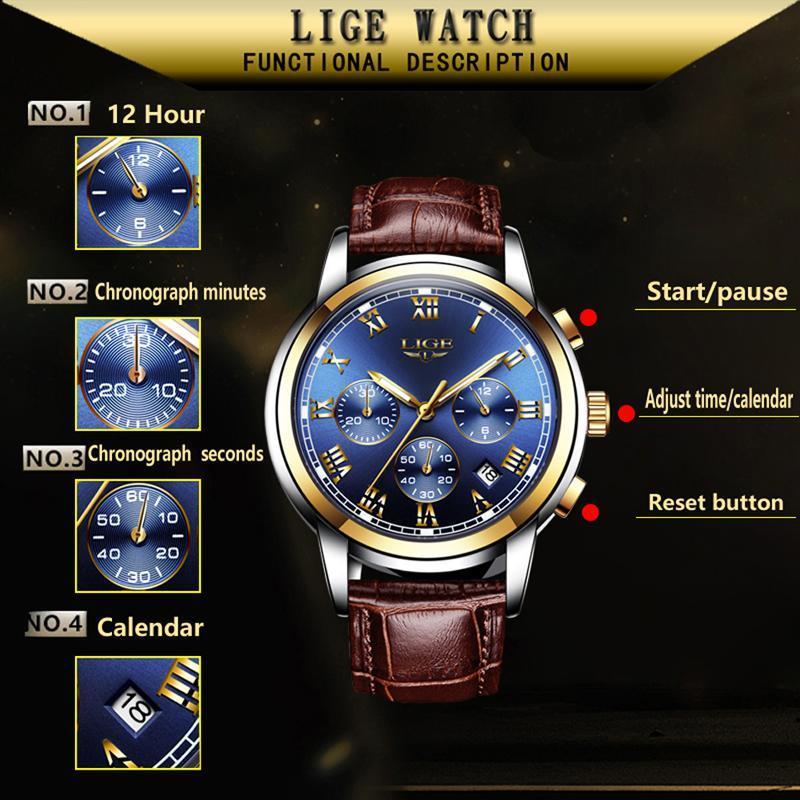 Ligeファッション腕時計メンズスポーツ防水日付アナログクォーツメンズウォッチトップブランドの高級ビジネス腕時計レロジオmasculino_画像3