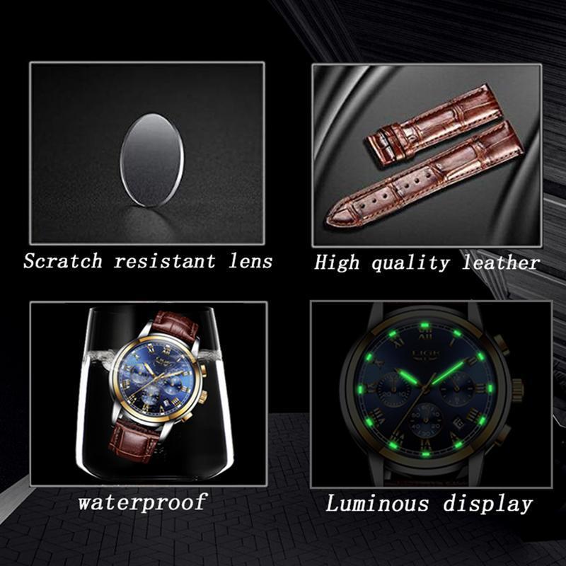 Ligeファッション腕時計メンズスポーツ防水日付アナログクォーツメンズウォッチトップブランドの高級ビジネス腕時計レロジオmasculino_画像4