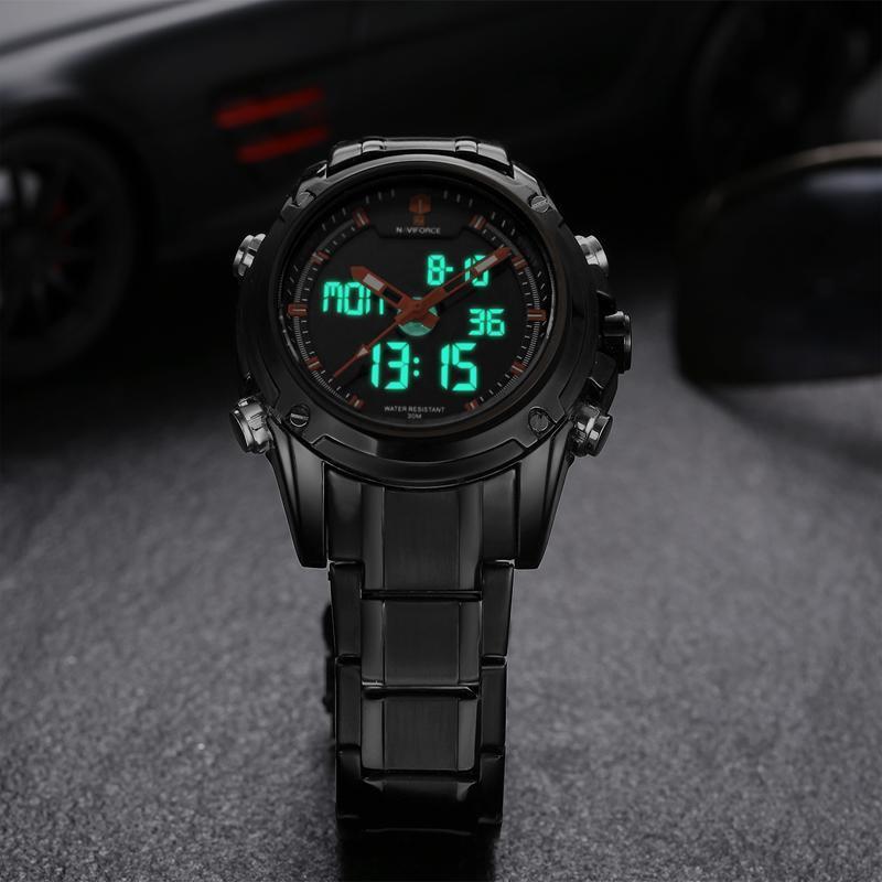NAVIFORCE トップ高級ブランド男性 3Bar 防水 LED スポーツ軍事腕時計男性クォーツアナログデジタル腕時計レロジオ Masculino_画像2