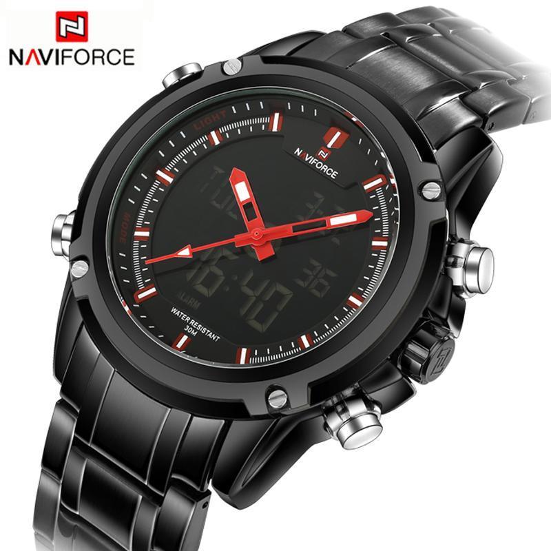 NAVIFORCE トップ高級ブランド男性 3Bar 防水 LED スポーツ軍事腕時計男性クォーツアナログデジタル腕時計レロジオ Masculino_画像5