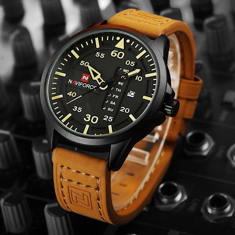 NAVIFORCE 高級ブランド男性軍ミリタリー腕時計メンズクォーツ日付時計マンレザーストラップスポーツ腕時計レロジオ Masculino_画像2