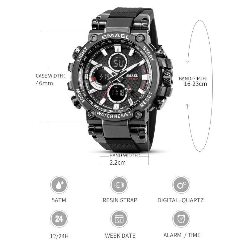 Smaelメンズ腕時計デジタル防水時計男性軍ミリタリー腕時計ledメンズ腕時計1803スポーツ腕時計レロジオmasculino_画像3