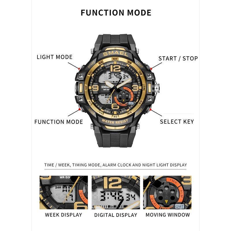 Smaelメンズ腕時計防水スポーツ腕時計デジタル腕時計ミリタリー時計アラーム1350Bレロジオmasculinoクォーツ時計スポーツ_画像4