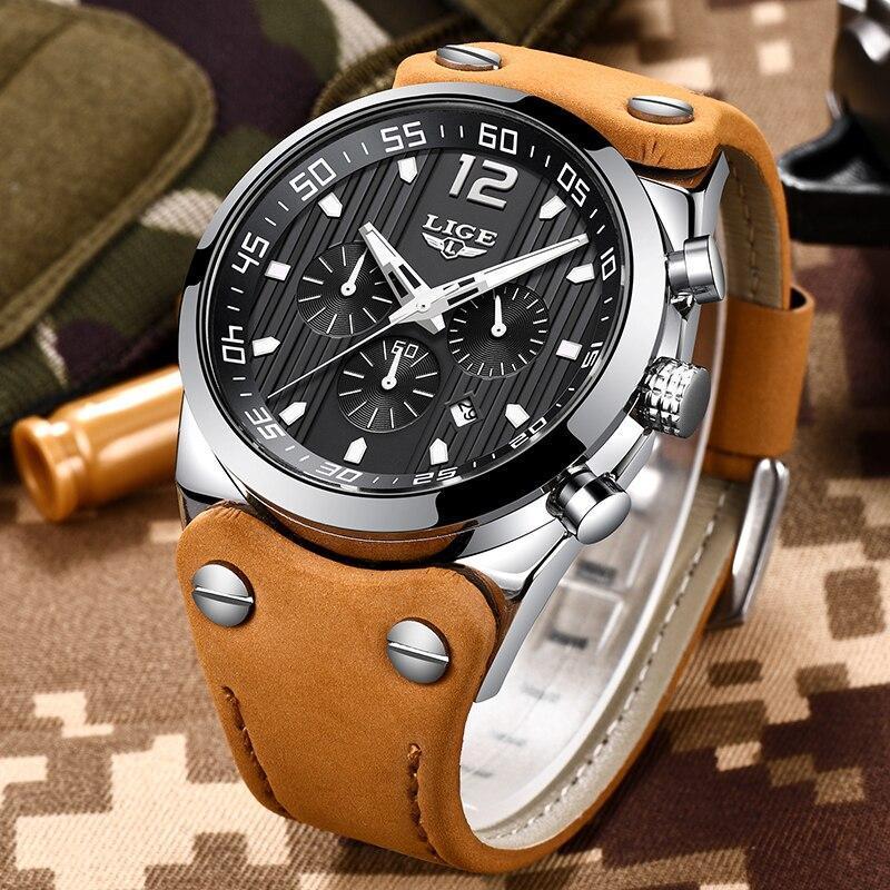 レロジオmasculino 2020 ligeファッションスポーツメンズ腕時計トップブランドの高級防水レザーストラップクォーツ腕時計男性時計_画像1