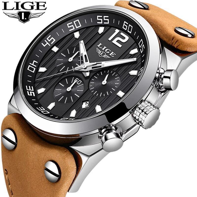 レロジオmasculino 2020 ligeファッションスポーツメンズ腕時計トップブランドの高級防水レザーストラップクォーツ腕時計男性時計_画像2