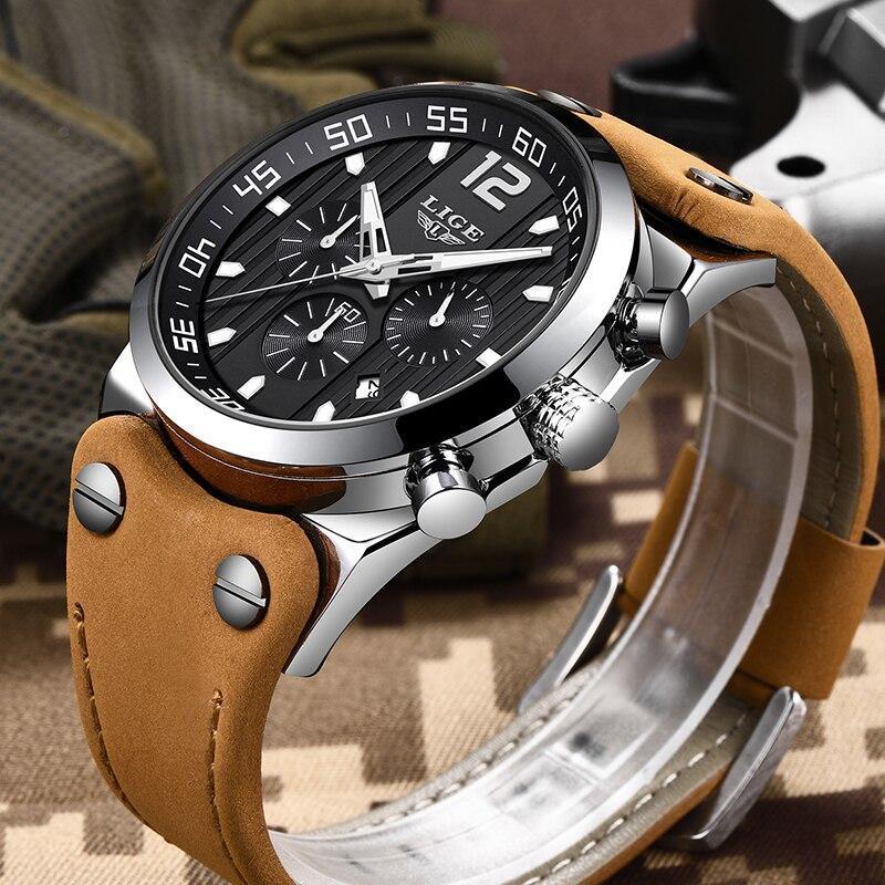 レロジオmasculino 2020 ligeファッションスポーツメンズ腕時計トップブランドの高級防水レザーストラップクォーツ腕時計男性時計_画像3
