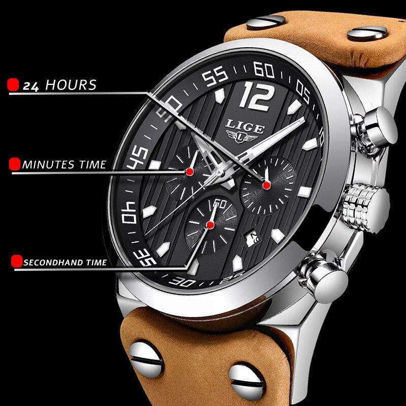 レロジオmasculino 2020 ligeファッションスポーツメンズ腕時計トップブランドの高級防水レザーストラップクォーツ腕時計男性時計_画像4