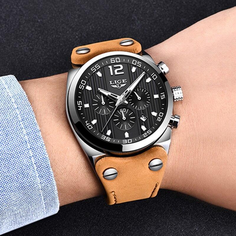 レロジオmasculino 2020 ligeファッションスポーツメンズ腕時計トップブランドの高級防水レザーストラップクォーツ腕時計男性時計_画像5