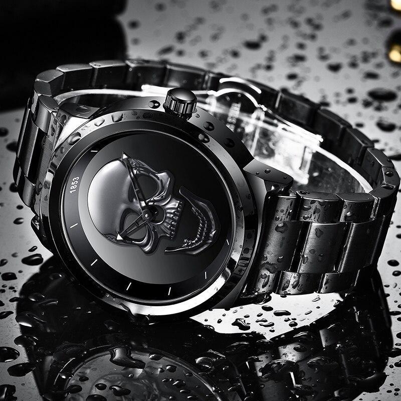レロジオmasculino 2020新ligeメンズ腕時計トップブランドカジュアル3Dスカルフル鋼防水軍事スポーツ男性クォーツ腕時計_画像3