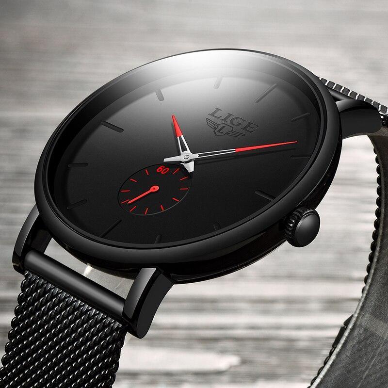 レロジオmasculino lige 2019ファッションスポーツメンズ腕時計ブランドの高級防水シンプルな腕時計女性超薄型ダイヤルクォーツ時計_画像2