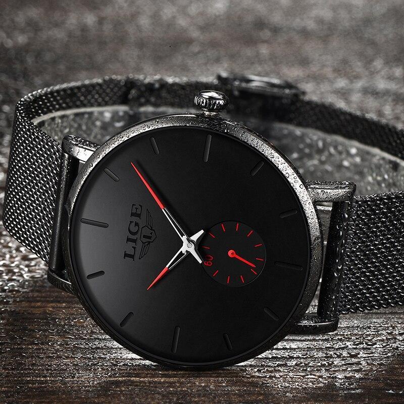 レロジオmasculino lige 2019ファッションスポーツメンズ腕時計ブランドの高級防水シンプルな腕時計女性超薄型ダイヤルクォーツ時計_画像3