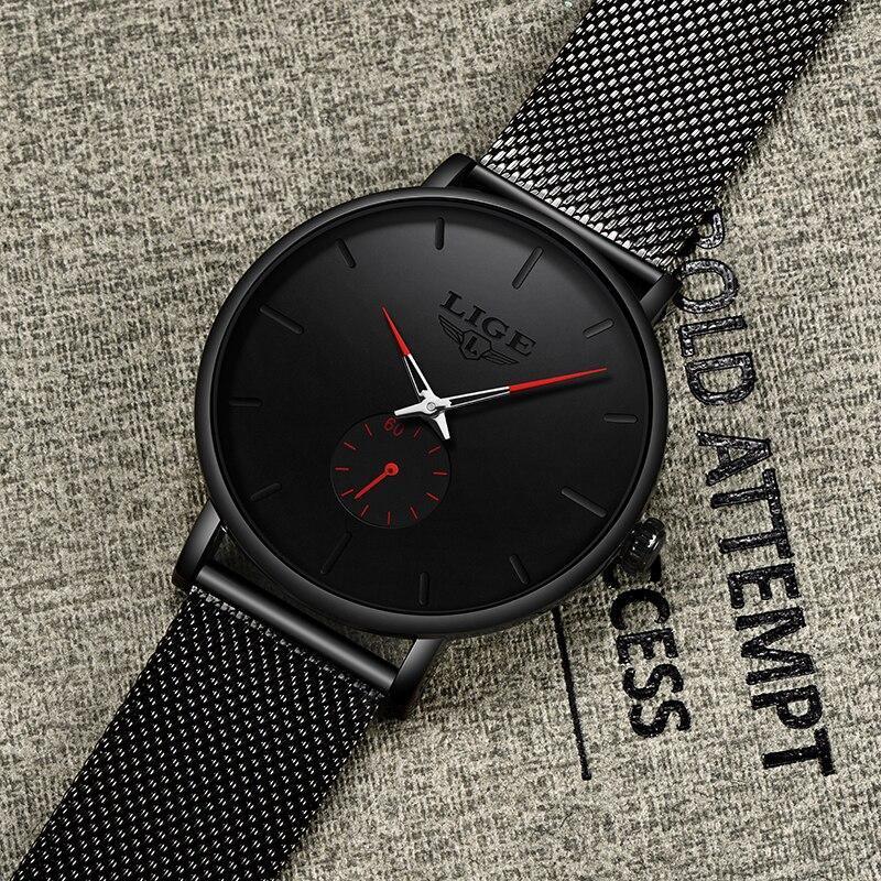レロジオmasculino lige 2019ファッションスポーツメンズ腕時計ブランドの高級防水シンプルな腕時計女性超薄型ダイヤルクォーツ時計_画像4