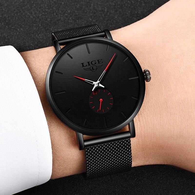 レロジオmasculino lige 2019ファッションスポーツメンズ腕時計ブランドの高級防水シンプルな腕時計女性超薄型ダイヤルクォーツ時計_画像5