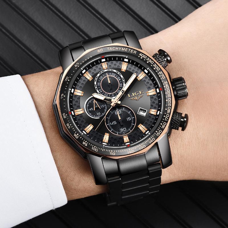レロジオmasculino lige新スポーツクロノグラフメンズ腕時計トップブランドの高級フル鋼クォーツ時計防水ビッグダイヤル腕時計男性_画像5